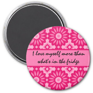 Pink kaleidoscope dieting loving affirmation 7.5 cm round magnet