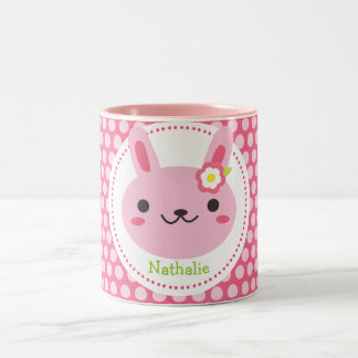 Pink Kawaii Bunny Two-Tone Coffee Mug