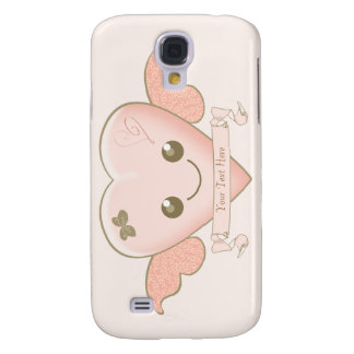 Pink Kawaii Heart with Blank Banner for your text Galaxy S4 Case