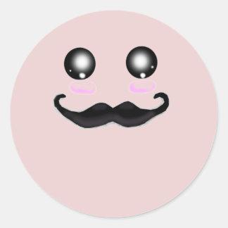 Pink Kawaii Moustache Round Sticker