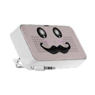 Pink Kawaii Moustache Travel Speaker