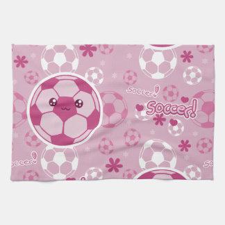 Pink Kawaii Soccer Pattern Tea Towel