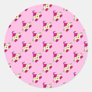 Pink Kawaii Tickle Monster Stickers