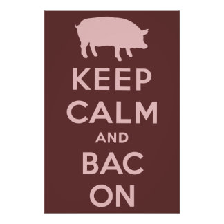 Pink keep calm and bacon print
