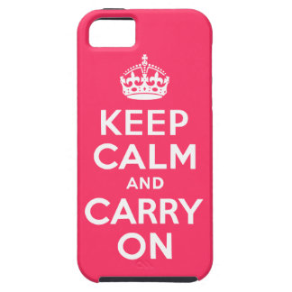 Pink Keep Calm and Carry On iPhone 5 Cover