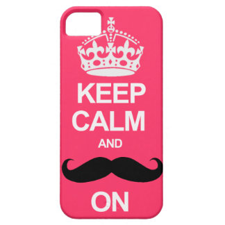 Pink Keep Calm and Carry On Mustache iPhone Case