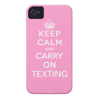 Pink Keep Calm and Carry On Texting iPhone 4 Case