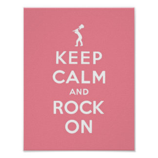 Pink Keep calm and rock on Poster