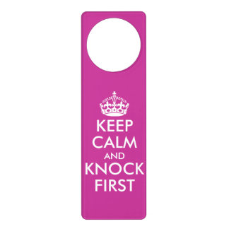 Pink Keep Calm door hangers for girls bedroom