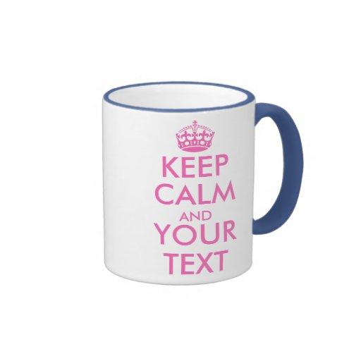 Pink Keep Calm mug template design   Customizable