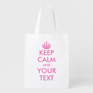 Pink Keep Calm reusable shopping bags