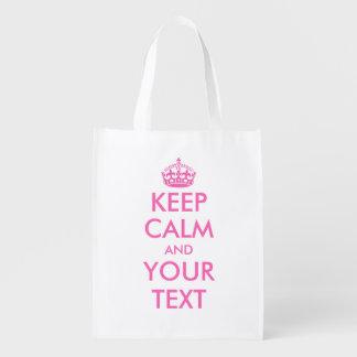 Pink Keep Calm reusable shopping bags