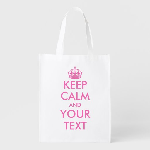 Pink Keep Calm reusable shopping bags Market Totes