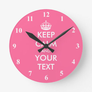 Pink Keep Calm wall clock | Custom vintage design