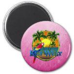 Pink Key West Sunset 6 Cm Round Magnet
