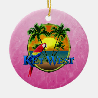 Pink Key West Sunset Christmas Ornament