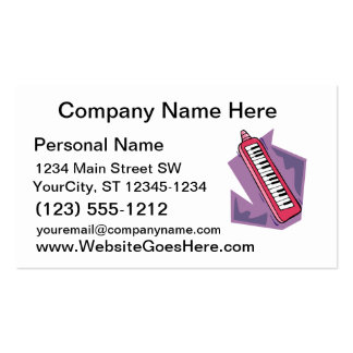 Pink Keytar portable 80s keyboard piano graphic Pack Of Standard Business Cards