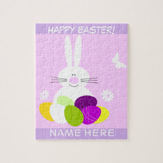 Pink Kids Happy Easter Personalized Jigsaw Puzzle