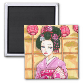 Pink Kimono Magnet, Maiko Geisha Art Square Magnet