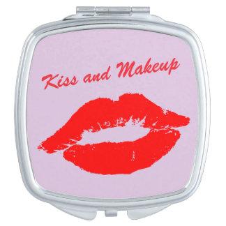 Pink Kiss and Makeup Lips Custom Wording Makeup Mirror