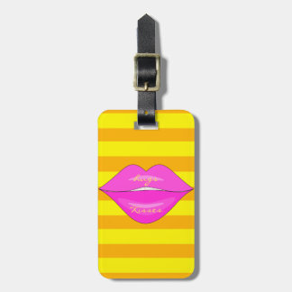 Pink kiss lips orange yellow stripes luggage tag