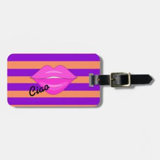Pink kiss lips purple stripes luggage tag