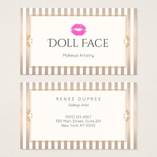 Pink Kiss Vintage Makeup Artist Gold Stripe Beauty