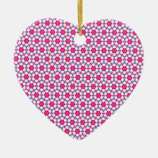 Pink kitsch flower pattern christmas ornaments