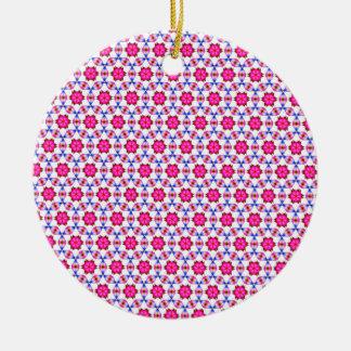 Pink kitsch flower pattern round ceramic decoration