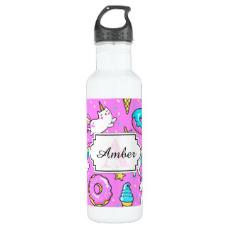 Pink Kitschy glittery funny unicorn and kitty 710 Ml Water Bottle