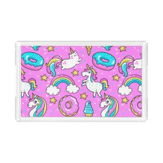 Pink Kitschy glittery funny unicorn and kitty Acrylic Tray