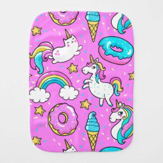 Pink Kitschy glittery funny unicorn and kitty Burp Cloth