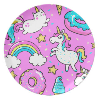 Pink Kitschy glittery funny unicorn and kitty Dinner Plates