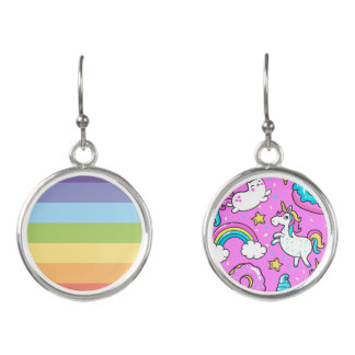 Pink Kitschy glittery funny unicorn and kitty Earrings