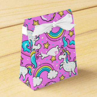 Pink Kitschy glittery funny unicorn and kitty Favour Box