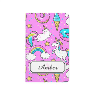 Pink Kitschy glittery funny unicorn and kitty Journal