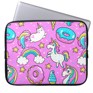 Pink Kitschy glittery funny unicorn and kitty Laptop Sleeve