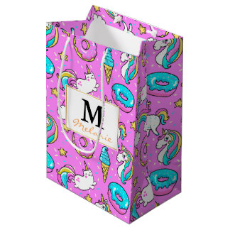 Pink Kitschy glittery funny unicorn and kitty Medium Gift Bag