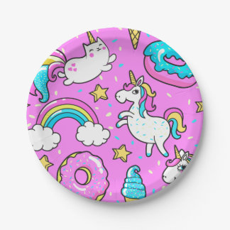 Pink Kitschy glittery funny unicorn and kitty Paper Plate