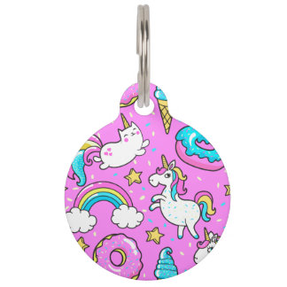 Pink Kitschy glittery funny unicorn and kitty Pet ID Tag