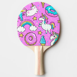 Pink Kitschy glittery funny unicorn and kitty Ping Pong Paddle