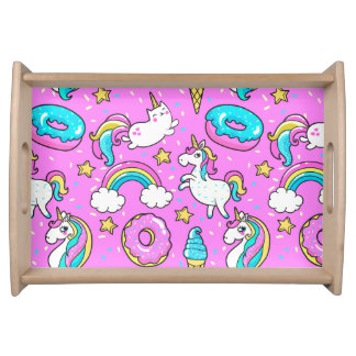Pink Kitschy glittery funny unicorn and kitty Serving Tray