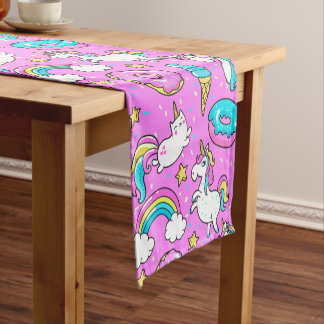Pink Kitschy glittery funny unicorn and kitty Short Table Runner