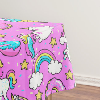 Pink Kitschy glittery funny unicorn and kitty Tablecloth