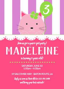 Pink Kitten Birthday Party Invitation