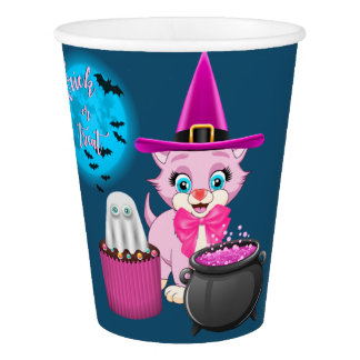 Pink Kitten Halloween Cartoon Paper Cup