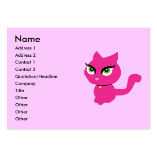 Pink Kitty Cat Business Cards Chubby Business Cards