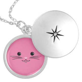 Pink Kitty Cat Cute Animal Face Design Lockets