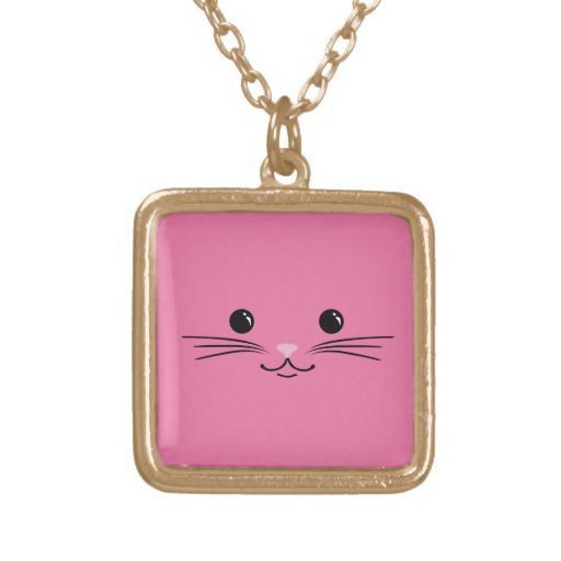 Pink Kitty Cat Cute Animal Face Design Necklace