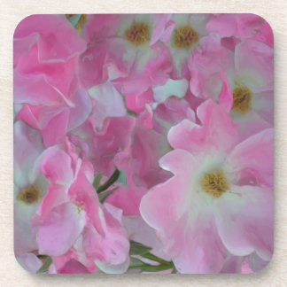 Pink Knockout Roses Painting Coasters